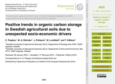 Positive Trends in Organic Carbon Storag... by Poeplau, C.