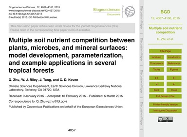 Multiple Soil Nutrient Competition Betwe... by Zhu, Q.