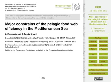 Major Constrains of the Pelagic Food Web... by Zoccarato, L.