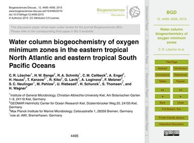 Water Column Biogeochemistry of Oxygen M... by Löscher, C. R.