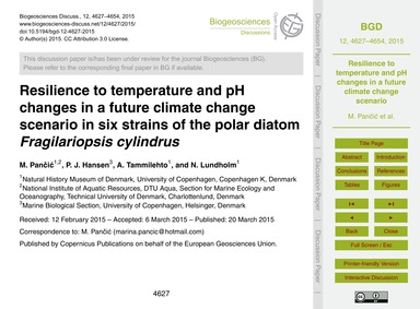 Resilience to Temperature and Ph Changes... by Pančić, M.