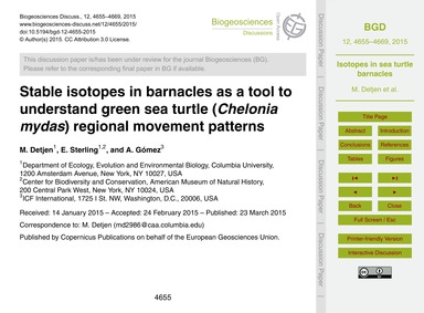 Stable Isotopes in Barnacles as a Tool t... by Detjen, M.