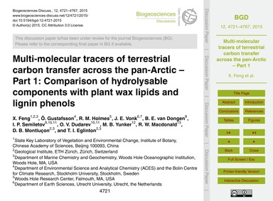 Multi-molecular Tracers of Terrestrial C... by Feng, X.