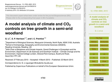 A Model Analysis of Climate and Co2 Cont... by Li, G.