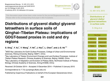 Distributions of Glycerol Dialkyl Glycer... by Ding, S.