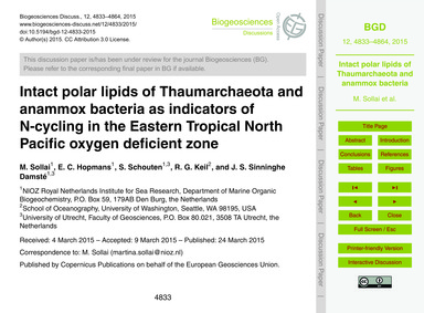 Intact Polar Lipids of Thaumarchaeota an... by Sollai, M.