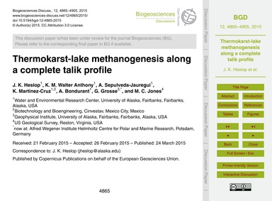 Thermokarst-lake Methanogenesis Along a ... by Heslop, J. K.