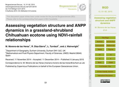 Assessing Vegetation Structure and Anpp ... by Moreno-de Las Heras, M.