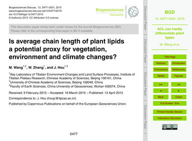 Is Average Chain Length of Plant Lipids ... by Wang, M.