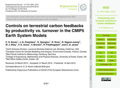 Controls on Terrestrial Carbon Feedbacks... by Koven, C. D.