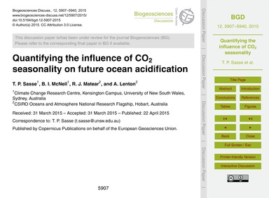 Quantifying the Influence of Co2 Seasona... by Sasse, T. P.