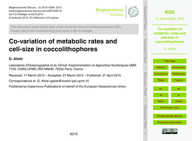 Co-variation of Metabolic Rates and Cell... by Aloisi, G.