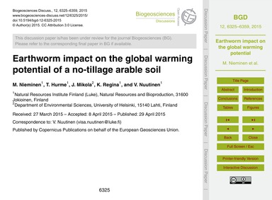 Earthworm Impact on the Global Warming P... by Nieminen, M.
