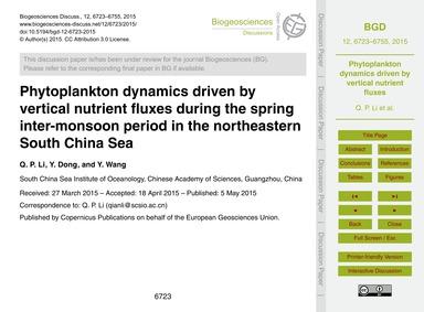 Phytoplankton Dynamics Driven by Vertica... by Li, Q. P.