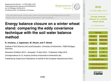 Energy Balance Closure on a Winter Wheat... by Imukova, K.