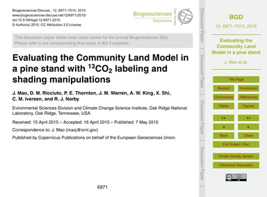 Evaluating the Community Land Model in a... by Mao, J.