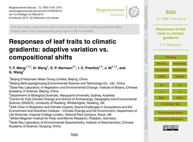 Responses of Leaf Traits to Climatic Gra... by Meng, T.-t.