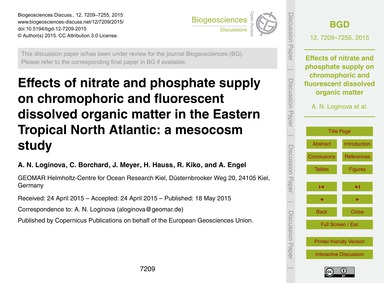 Effects of Nitrate and Phosphate Supply ... by Loginova, A. N.