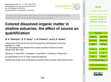 Colored Dissolved Organic Matter in Shal... by Oestreich, W. K.