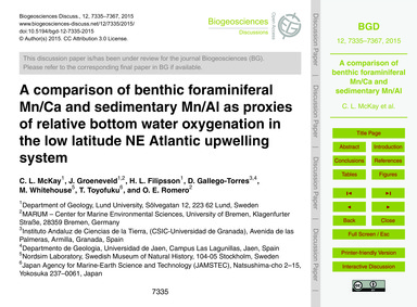 A Comparison of Benthic Foraminiferal Mn... by McKay, C. L.