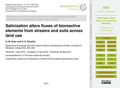 Salinization Alters Fluxes of Bioreactiv... by Duan, S.-w.