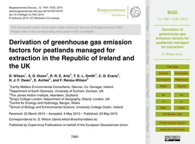 Derivation of Greenhouse Gas Emission Fa... by Wilson, D.