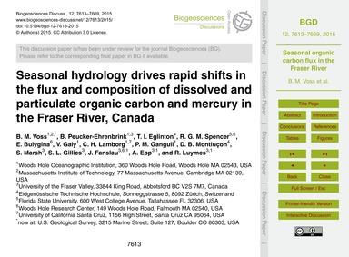 Seasonal Hydrology Drives Rapid Shifts i... by Voss, B. M.