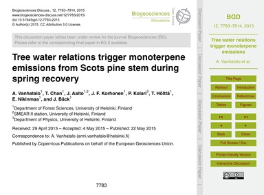 Tree Water Relations Trigger Monoterpene... by Vanhatalo, A.