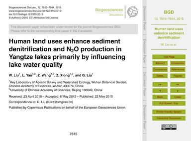 Human Land Uses Enhance Sediment Denitri... by Liu, W.