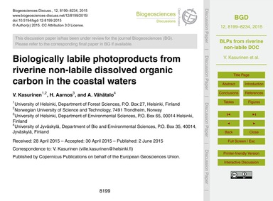 Biologically Labile Photoproducts from R... by Kasurinen, V.