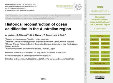Historical Reconstruction of Ocean Acidi... by Lenton, A.