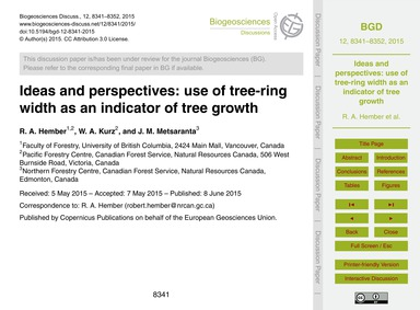 Ideas and Perspectives: Use of Tree-ring... by Hember, R. A.