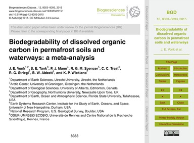 Biodegradability of Dissolved Organic Ca... by Vonk, J. E.