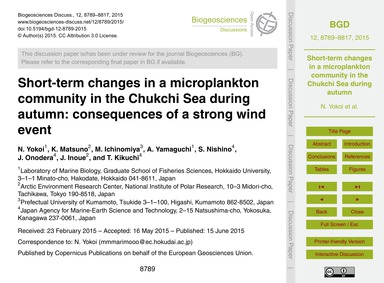 Short-term Changes in a Microplankton Co... by Yokoi, N.