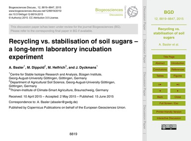 Recycling Vs. Stabilisation of Soil Suga... by Basler, A.