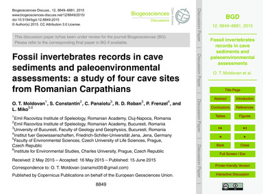 Fossil Invertebrates Records in Cave Sed... by Moldovan, O. T.