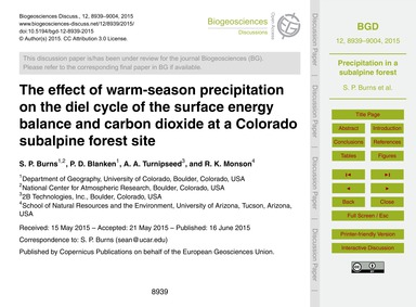 The Effect of Warm-season Precipitation ... by Burns, S. P.