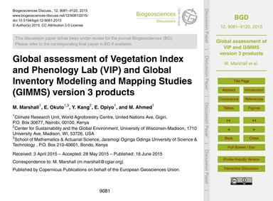 Global Assessment of Vegetation Index an... by Marshall, M.