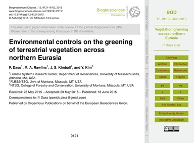 Environmental Controls on the Greening o... by Dass, P.