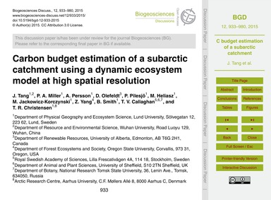 Carbon Budget Estimation of a Subarctic ... by Tang, J.