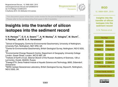 Insights Into the Transfer of Silicon Is... by Panizzo, V. N.