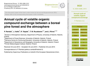 Annual Cycle of Volatile Organic Compoun... by Rantala, P.