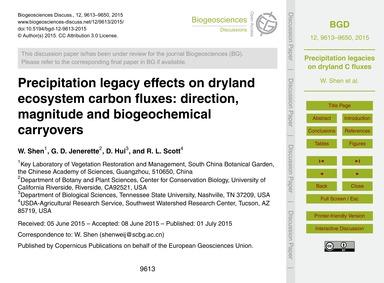 Precipitation Legacy Effects on Dryland ... by Shen, W.