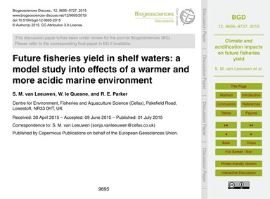 Future Fisheries Yield in Shelf Waters: ... by Van Leeuwen, S. M.