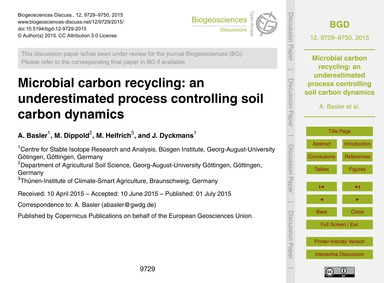 Microbial Carbon Recycling: an Underesti... by Basler, A.