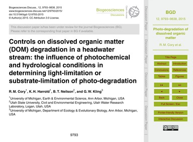 Controls on Dissolved Organic Matter (Do... by Cory, R. M.