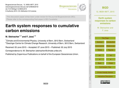 Earth System Responses to Cumulative Car... by Steinacher, M.