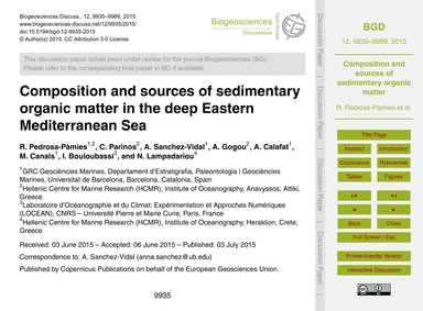 Composition and Sources of Sedimentary O... by Pedrosa-pàmies, R.