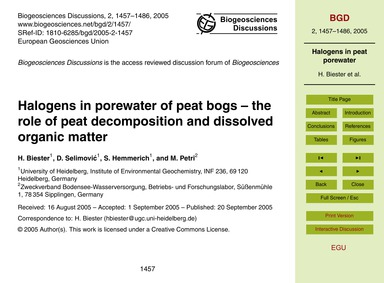 Halogens in Porewater of Peat Bogs – the... by Biester, H.