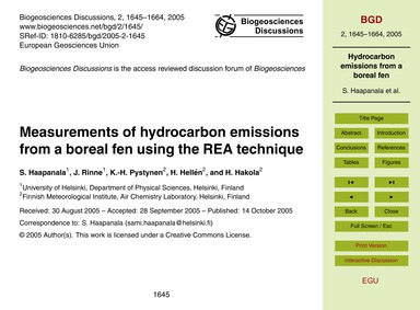 Measurements of Hydrocarbon Emissions fr... by Haapanala, S.